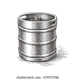 Keg. Hand drawn engraving style illustrations.