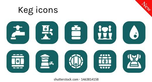 keg icon set. 10 filled keg icons.  Collection Of - Beer tap, Beer keg, Liquify, Barrel, Dirndl