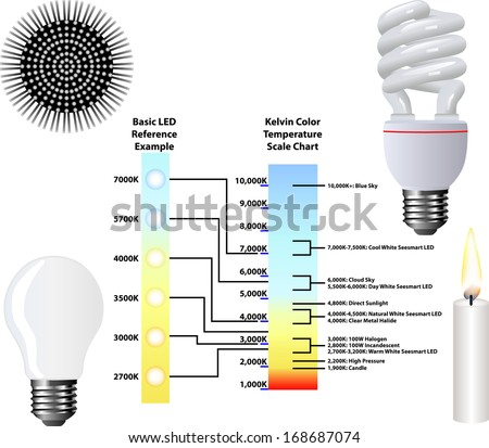 Kelvin Color Temperature Scale Chart Stock Vector Royalty Free
