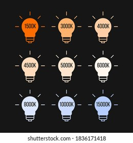 Kelvin colour temperatures of different light bulbs. Stock vector illustration isolated on white background.