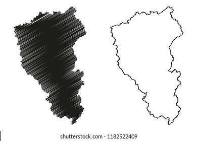Kemerovo Oblast (Russia, Subjects of the Russian Federation, Oblasts of Russia) map vector illustration, scribble sketch Kemerovo Oblast map