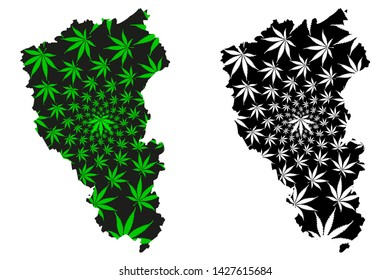 Kemerovo Oblast (Russia, Subjects of the Russian Federation, Oblasts of Russia) map is designed cannabis leaf green and black, Kemerovo Oblast map made of marijuana (marihuana,THC) foliage
