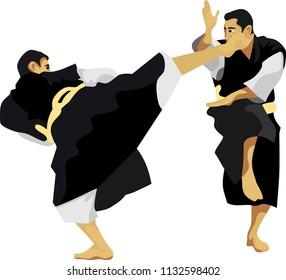Kempo Japanese Martial Art Sport Vector Illustration