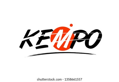 kempo text word on white background with red circle suitable for card icon or typography logo design
