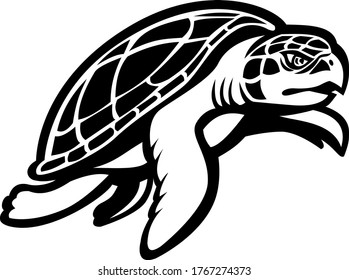 Kemp's Ridley Sea Turtle Swimming to Right Mascot Black and White