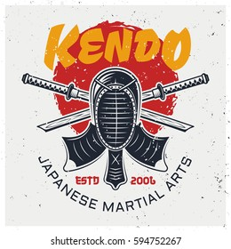 Kendo protective face mask and two crossed bamboo swords, traditional japanese martial art vector logo template isolated on background with grunge textures