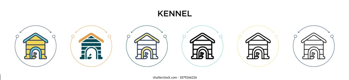 Kennel icon in filled, thin line, outline and stroke style. Vector illustration of two colored and black kennel vector icons designs can be used for mobile, ui, web