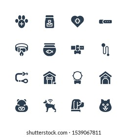 kennel icon set. Collection of 16 filled kennel icons included Dog, Hamster, Kennel, Collar, Dog house, Leash, Fish bowl, Veterinary, Dog food