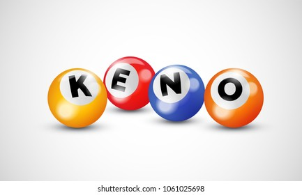 Keno lottery 3d balls numbers for bingo lotto gamble vector poster template background