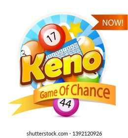 Keno Lottery Game Logo Template Isolated On White Template Isolated On White