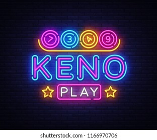 Keno Lottery neon sign vector. Lotto Design template neon sign, Casino, celebration light banner, neon signboard, nightly bright advertising, light inscription. Vector illustration