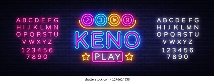 Keno Lottery neon sign vector. Lotto Design template neon sign, Casino, celebration light banner, neon signboard, nightly bright advertising, light inscription. Vector. Editing text neon sign