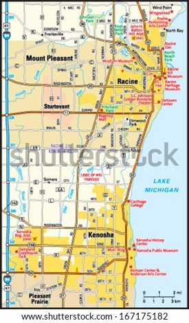 Kenosha Racine Wisconsin Area Map Stock Vector Royalty Free