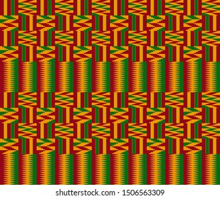 Kente ceremonial cloth pattern. African decorative textile background in red, green and yellow color.