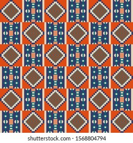 Kente cloth. African textile. Ethnic seamless pattern. Tribal geometric print.