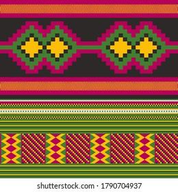 Kente cloth. African textile. Ethnic geometric design. Tribal print.