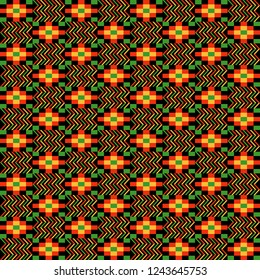 Kente Cloth Seamless Pattern - Colorful kente style fabric design for Kwanzaa