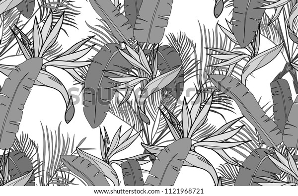 Kentia, banana palm leaves and paradise bird flower. Palm leaves and exotic flowers composition. Vector illustration. Botanical seamless background. Digital nature art.