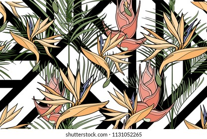 Kentia and paradise bird flower. Palm leaves and exotic flowers composition. Vector illustration. Botanical seamless background. Digital nature art.