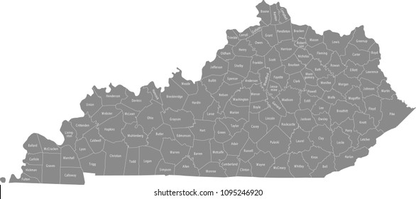 Kentucky county map with names labeled. Kentucky state of USA map vector outline