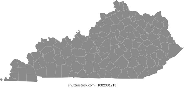 Kentucky county map vector outline illustration gray background