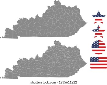 Kentucky county map vector outline in gray background. Kentucky state of USA map with counties names labeled and United States flag vector illustration designs
