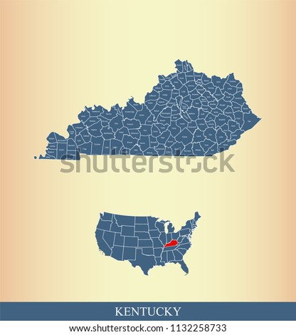 Kentucky County Map Vector Outline Counties Stock Vector (Royalty ...