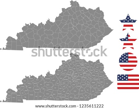 United States Map With County Names.Kentucky County Map Vector Outline Gray Stock Vector Royalty Free