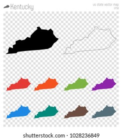 Kentucky high detailed map. Isolated black us state outline. Vector illustration.