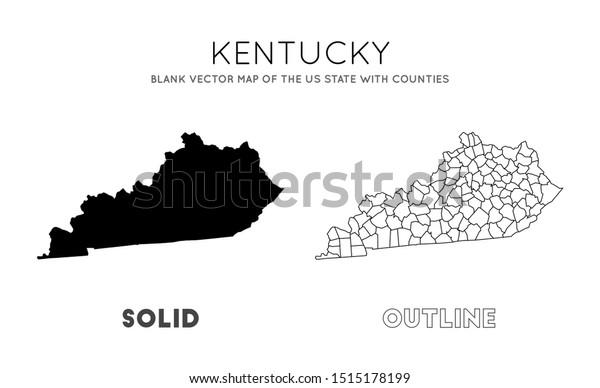 Kentucky Map Blank Vector Map Us Stock Vector (Royalty Free ...