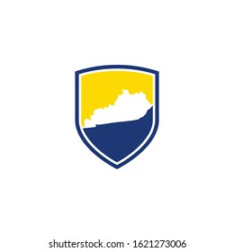 Kentucky Map and Shield Logo Icon Template 001