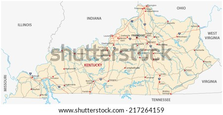 Kentucky Road Map Stock Vector (Royalty Free) 217264159 - Shutterstock