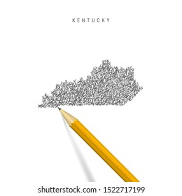 Kentucky sketch scribble map isolated on white background. Hand drawn vector map of Kentucky. Realistic 3D pencil.
