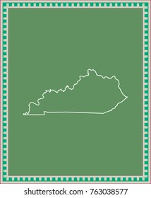 Kentucky state of USA map vector outline illustration in green background