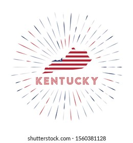 Kentucky sunburst badge. The us state sign with map of Kentucky with American flag. Colorful rays around the logo. Vector illustration.