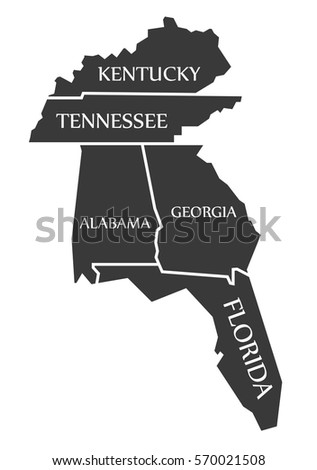 Florida Georgia Map.Kentucky Tennessee Alabama Georgia Florida Map Stock Vector Royalty