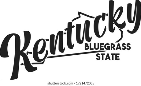 Kentucky vector illustration. Bluegrass State nickname. United States of America outline silhouette. Hand-drawn map of US territory. Image for the USA poster, banner, t-shirt, print, decor, postcard