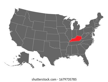 Kentucky vector map. High detailed illustration. United state of America country