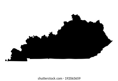 Kentucky vector map silhouette isolated on white background. High detailed silhouette illustration. United state of America country.