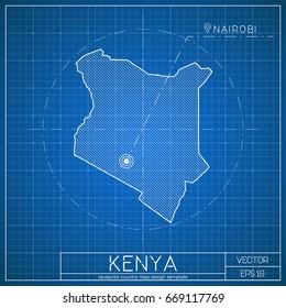 Republic of kenya images stock photos vectors shutterstock kenya blueprint map template with capital city nairobi marked on blueprint kenyan map vector malvernweather Gallery