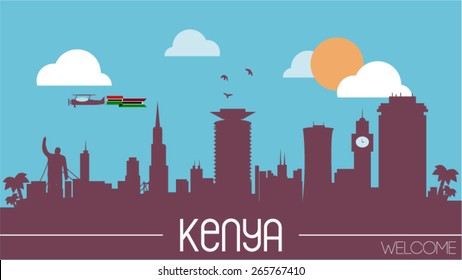 Kenya city skyline silhouette flat design vector illustration