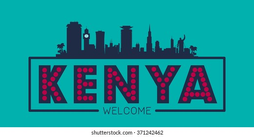 Kenya city skyline silhouette vector design