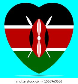 Kenya Flag In Heart Shape Vector illustration Eps 10