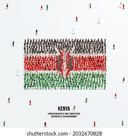 Kenya Flag. A large group of people form to create the shape of the Kenyan flag. Vector Illustration.