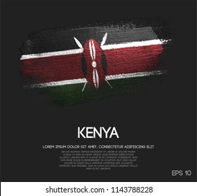 Kenya Flag Made of Glitter Sparkle Brush Paint Vector