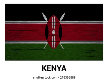 Kenya flag on wood texture background - vector illustration