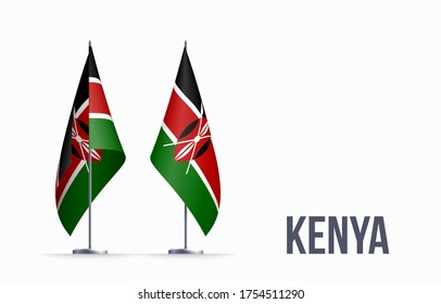 Kenya flag state symbol isolated on background national banner. Greeting card National Independence Day of the Republic of Kenya. Illustration banner with realistic state flag.