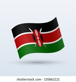 Kenya flag waving form on gray background. Vector illustration.