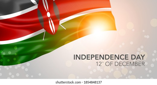 Kenya happy independence day vector banner, greeting card. Kenyan realistic wavy flag in 12th of December national patriotic holiday horizontal design