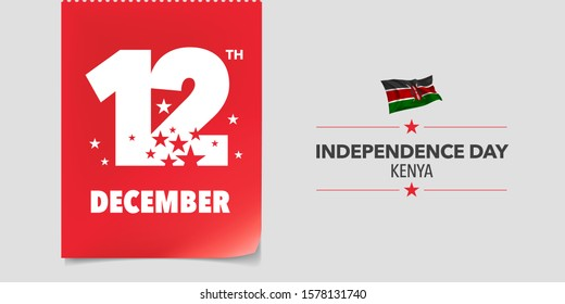 Kenya independence day greeting card, banner, vector illustration. Kenyan national day 12th of December background with elements of flag in a creative horizontal design